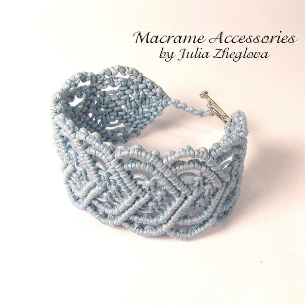 "Macrame Light-blue Woman Bracelet ""Heart To Heart"""