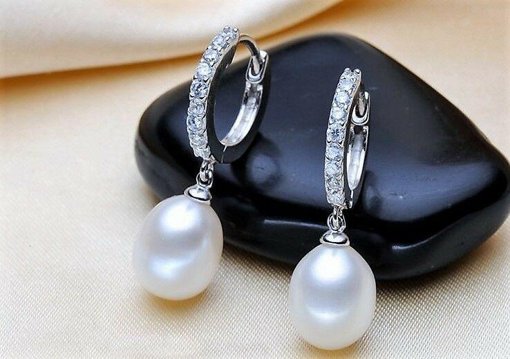 Damen Ohrstecker Ohrringe 925 Sterling Silber Süßwasser Perlen AAA Rhodiniert