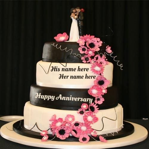 Write Your Couple Name On Happy Wedding Anniversary Cake Pic In 2020 Marriage Anniversary Cake Happy Marriage Anniversary Cake Wedding Anniversary Cakes