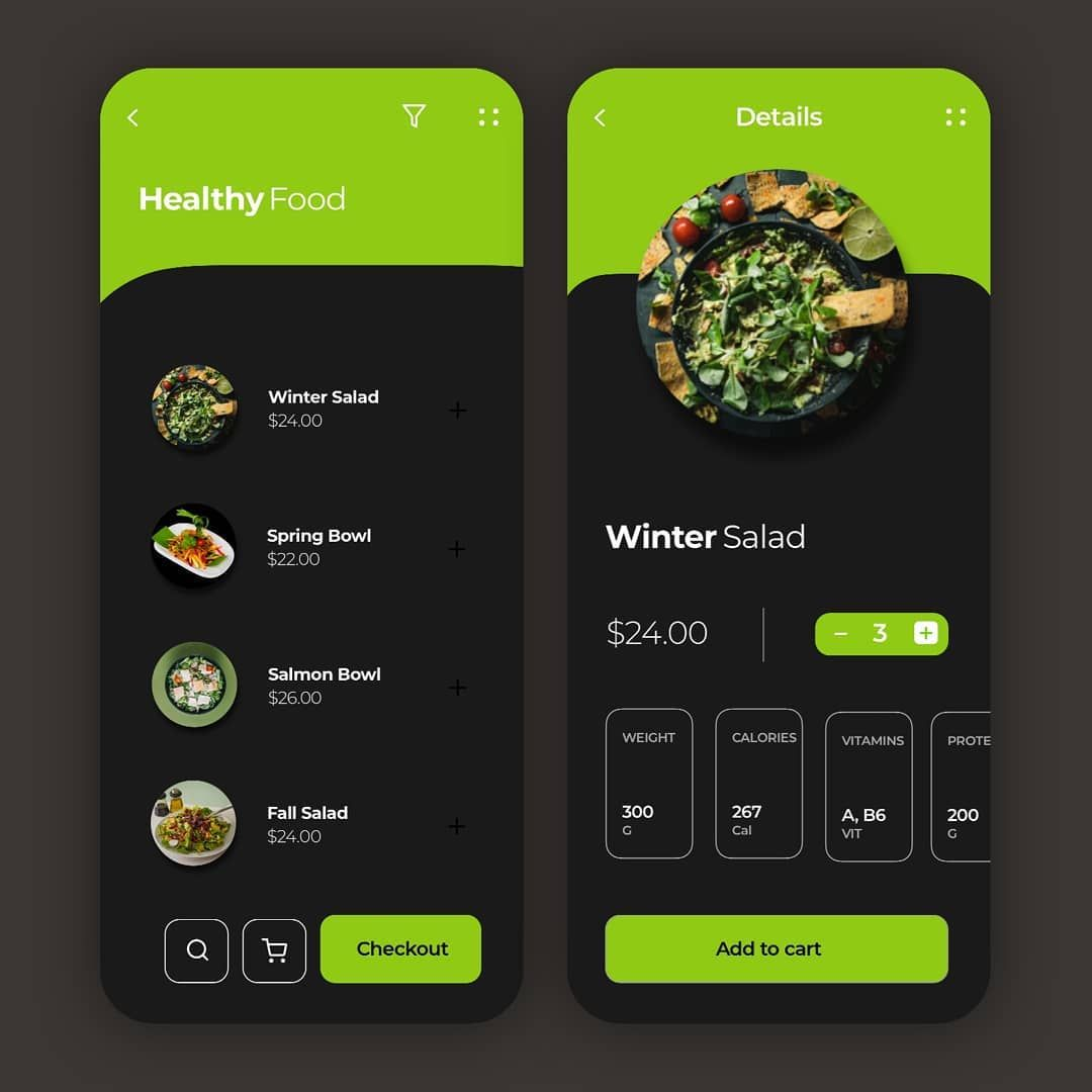 Healthy Food App UI Design - DarkMode ...