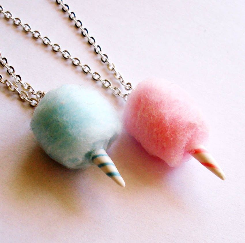Carnival Cotton Candy Necklace - Pink or Blue