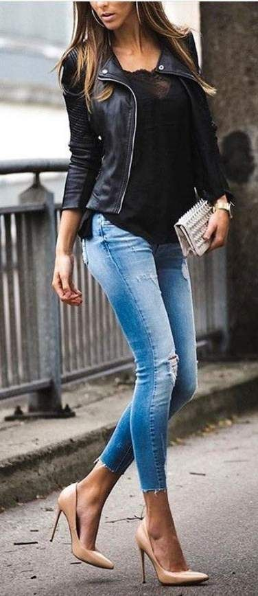 40 trendy ideas how to wear leather jacket winter fall #leatherjacketoutfit