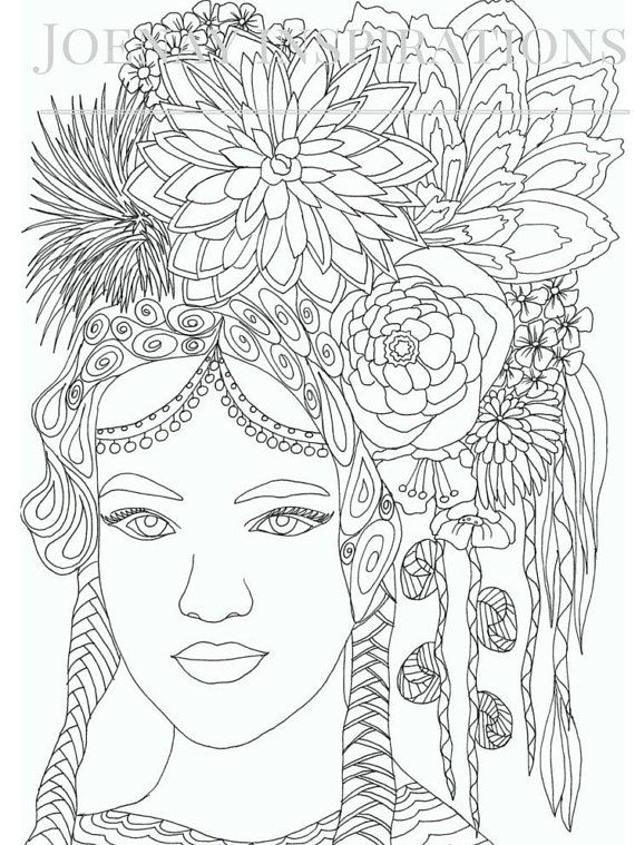 Faces of the World Adult Coloring Pages by Joenay