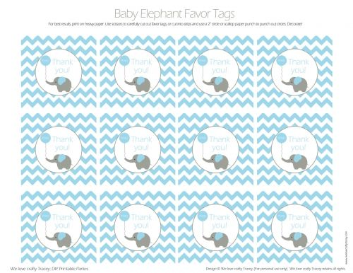free printable baby shower favor tags template - blue baby elephant favor tags diy printable parties