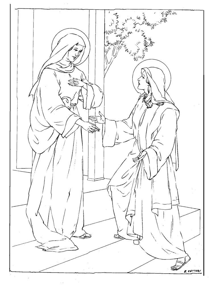 Mary Visits Her Cousin Elizabeth Catholic Coloring Page
