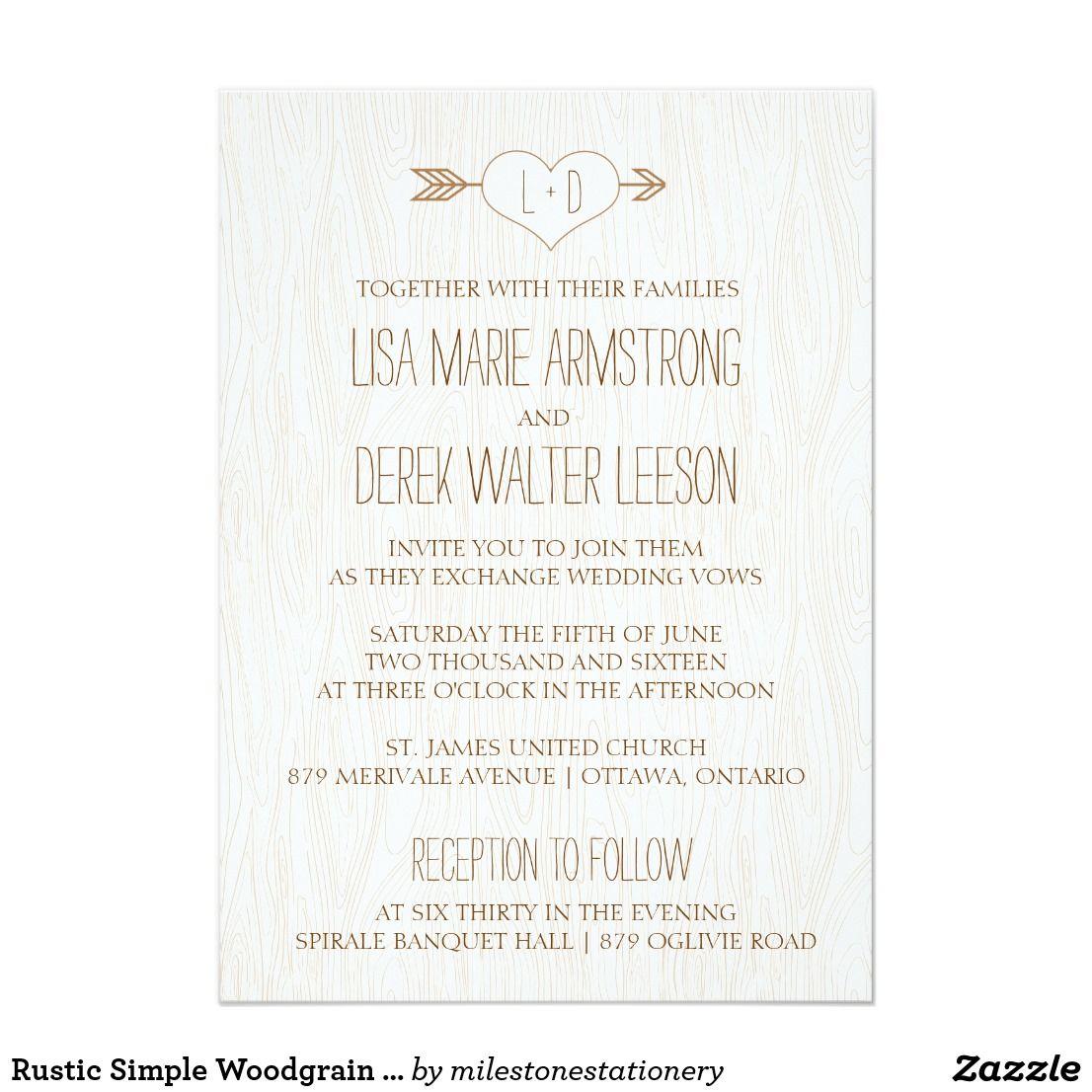 Rustic Simple Woodgrain Wedding Invitation | Wedding