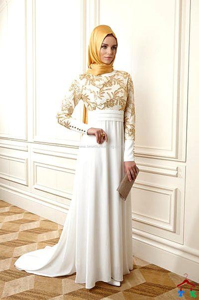 2015 Altin Desenli Kuyruklu Tesettur Abiye Bahar The Dress Moda Stilleri Musluman Modasi