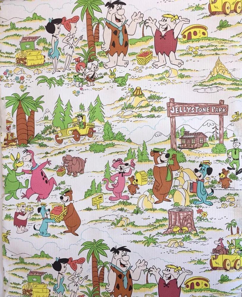 Vintage Hanna Barbera Wallpaper Scrap 3 X 20 3 Flintstones Frameable Hanna Barbera Vintage Wallpaper