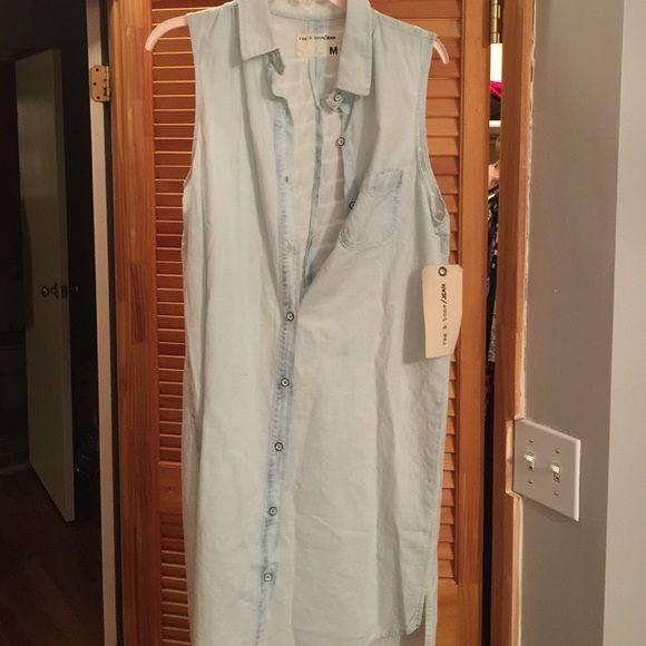 Rag & bone denim chambray button down dress New with tags. Size medium. Price firm. rag & bone Dresses