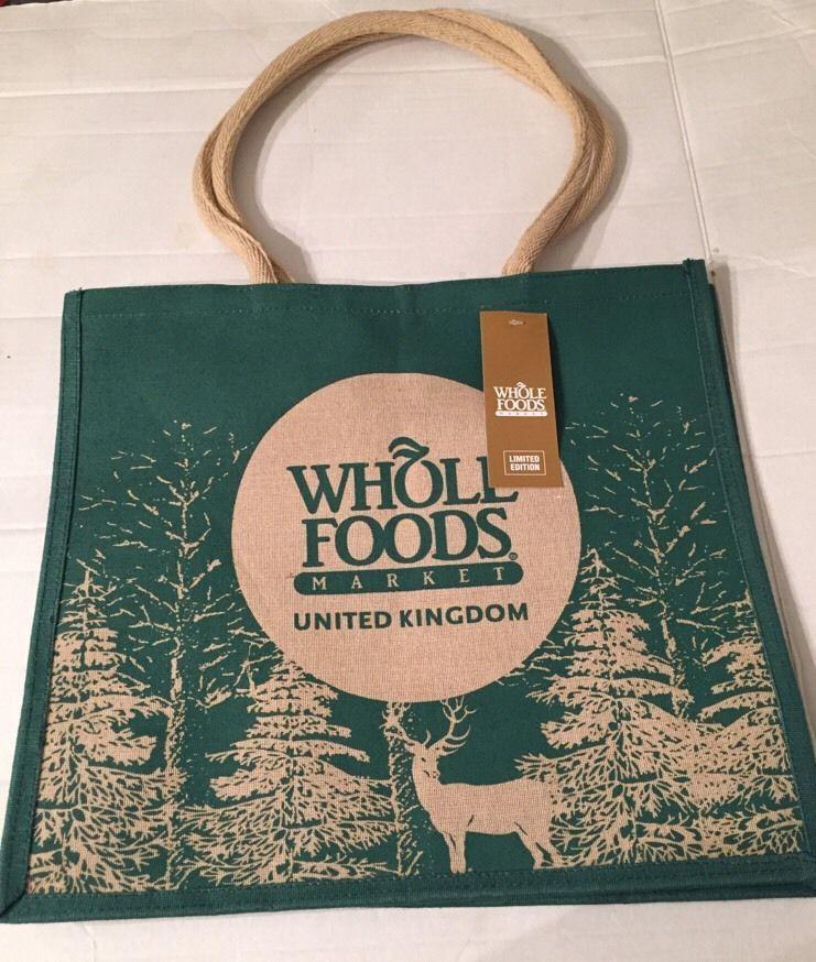 Whole Foods Uk Christmas Jute Bag Tote Holiday Green Deer Tree Reuse England Wholefoods