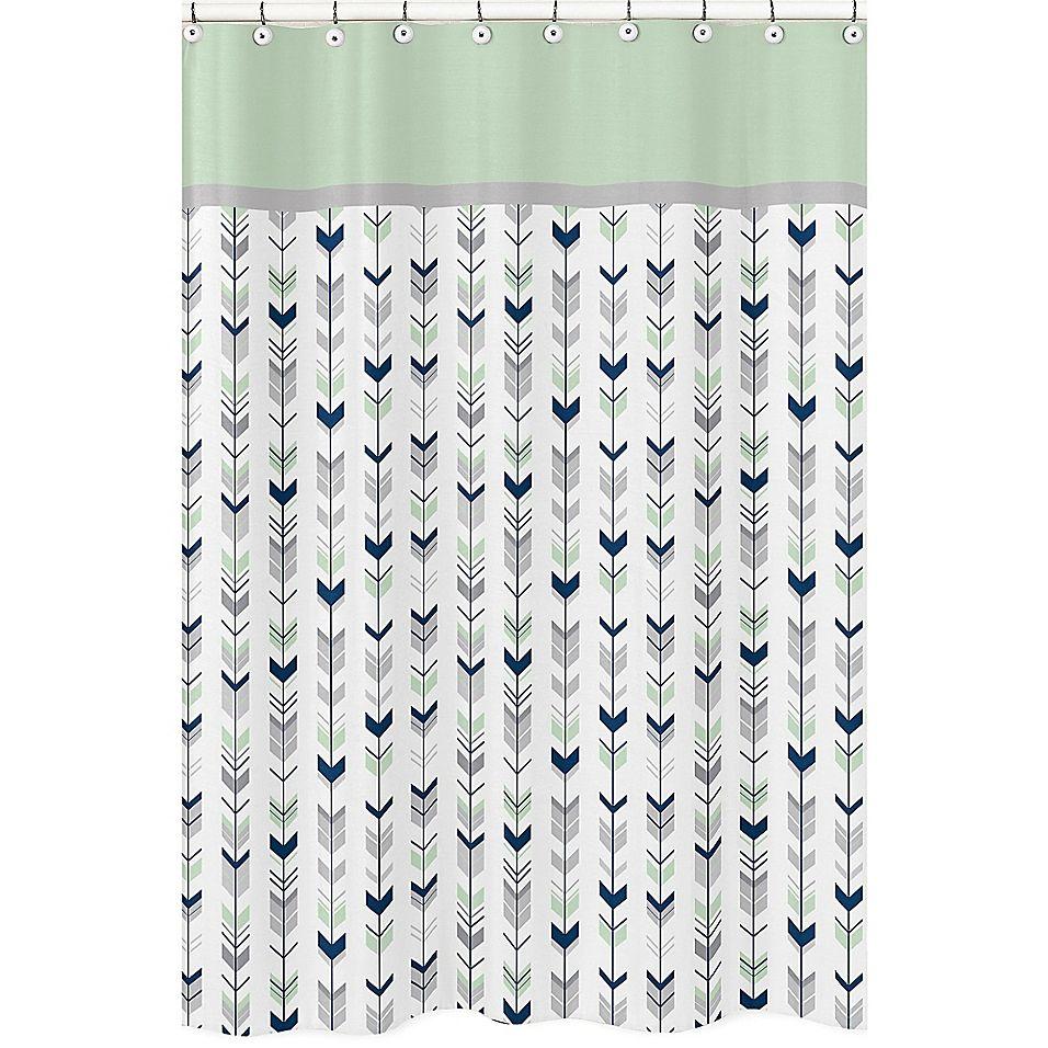 Sweet Jojo Designs Mod Arrow Shower Curtain In Grey Mint Green