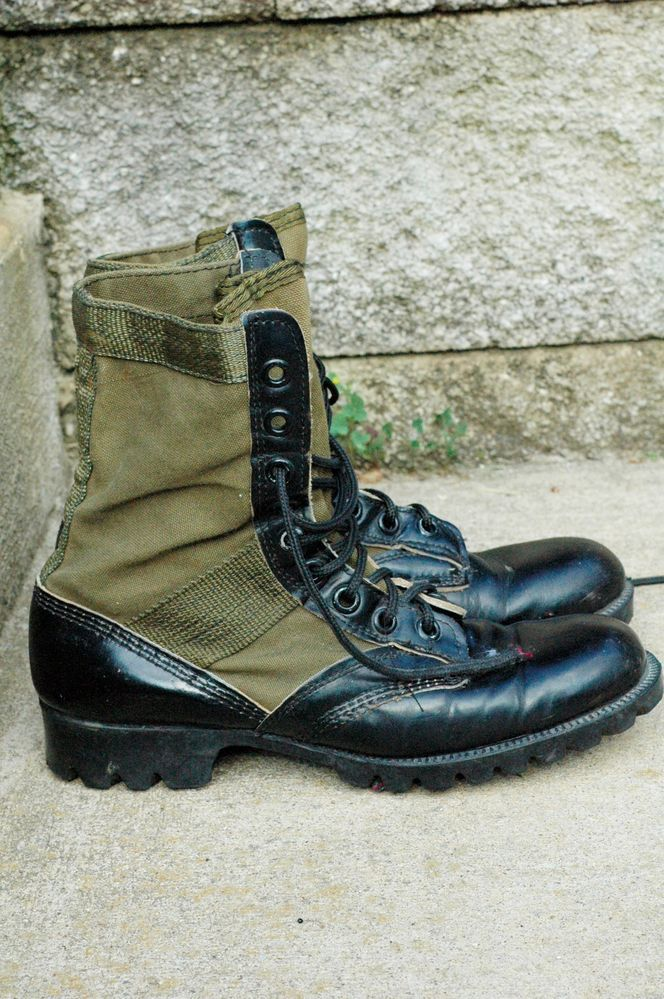 1960's Vintage Vietnam Military Army Jungle Boots - Black Mens 7