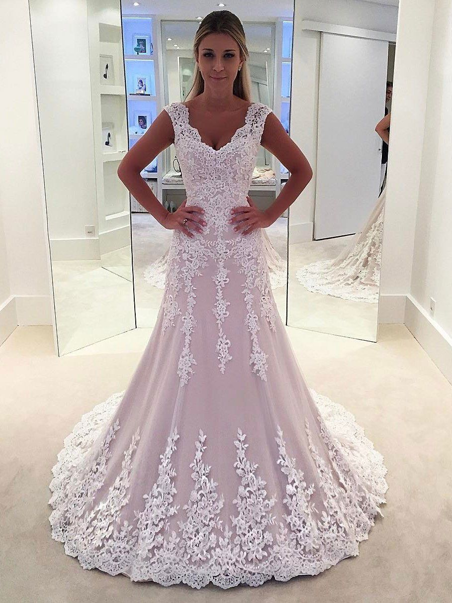 Lace Strapless Aline See Through Cheap Wedding Dresses