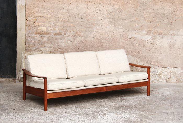 canap convertible vintage bois teck tissus blanc cru beige. Black Bedroom Furniture Sets. Home Design Ideas
