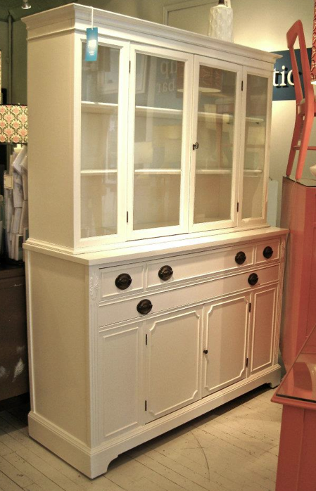 Refinished Painted Vintage Mahogany Hutch With Original Hardware From The White Attic In Chicago Dining Room