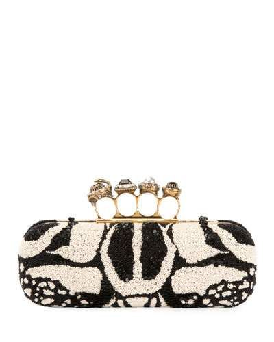 662a99f3bd56 Alexander Mcqueen Bug Embroidered Four-Ring Knuckle Box Clutch Bag ...