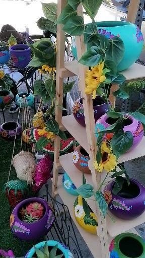 Follow us on Instagram @barropatuhogar #walktheblocklogan event this past Saturday varity of colors Mexican clay pottery. #pottery #homegarden #homedecor #coloredpots #claypottery #forsale #flowerpots #orderyourstoday #instapottery #instacolor #instagarden #macetasdecolores #barro #barromexicano