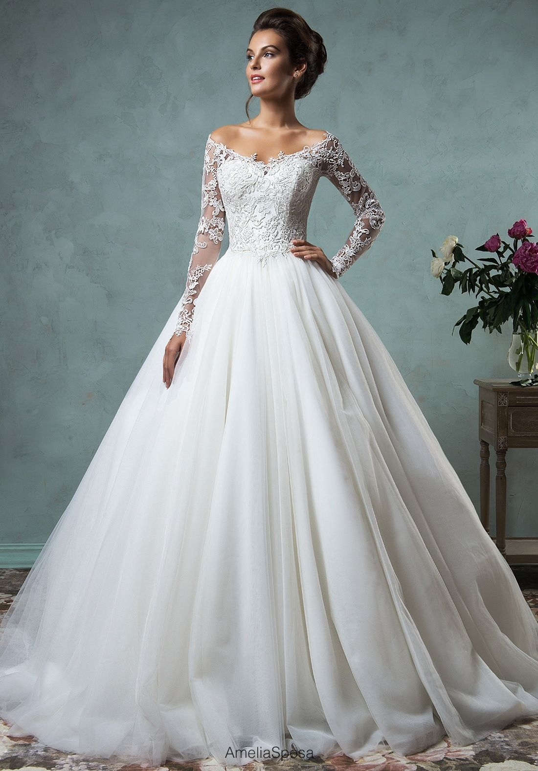 Amelia Sposa off shoulder wedding dress with lace sleeves | Wedding ...