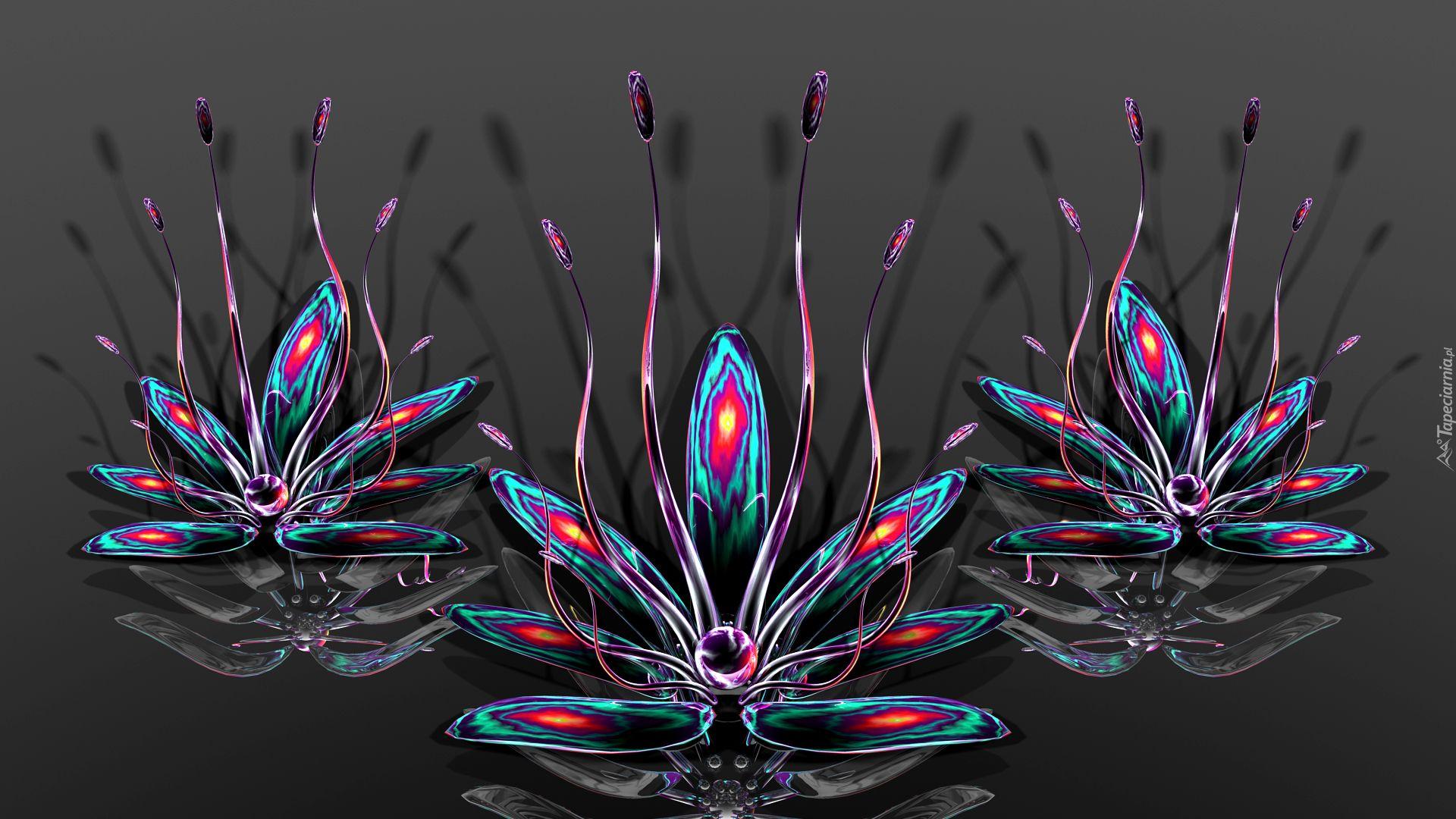 Grafika 3d Kwiaty Preciki Dyed Flowers Fractal Art Flowers