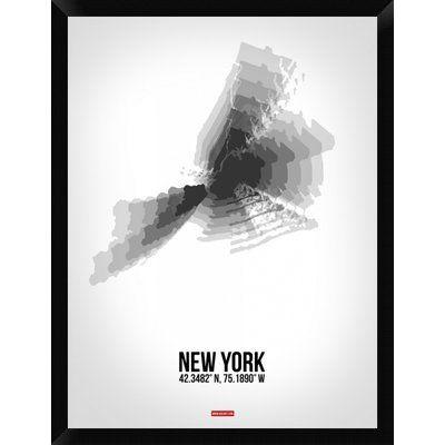 "Naxart 'New York Radiant Map 4' Framed Graphic Art Print on Canvas Size: 34"" H x 26"" W x 1.5"" D"