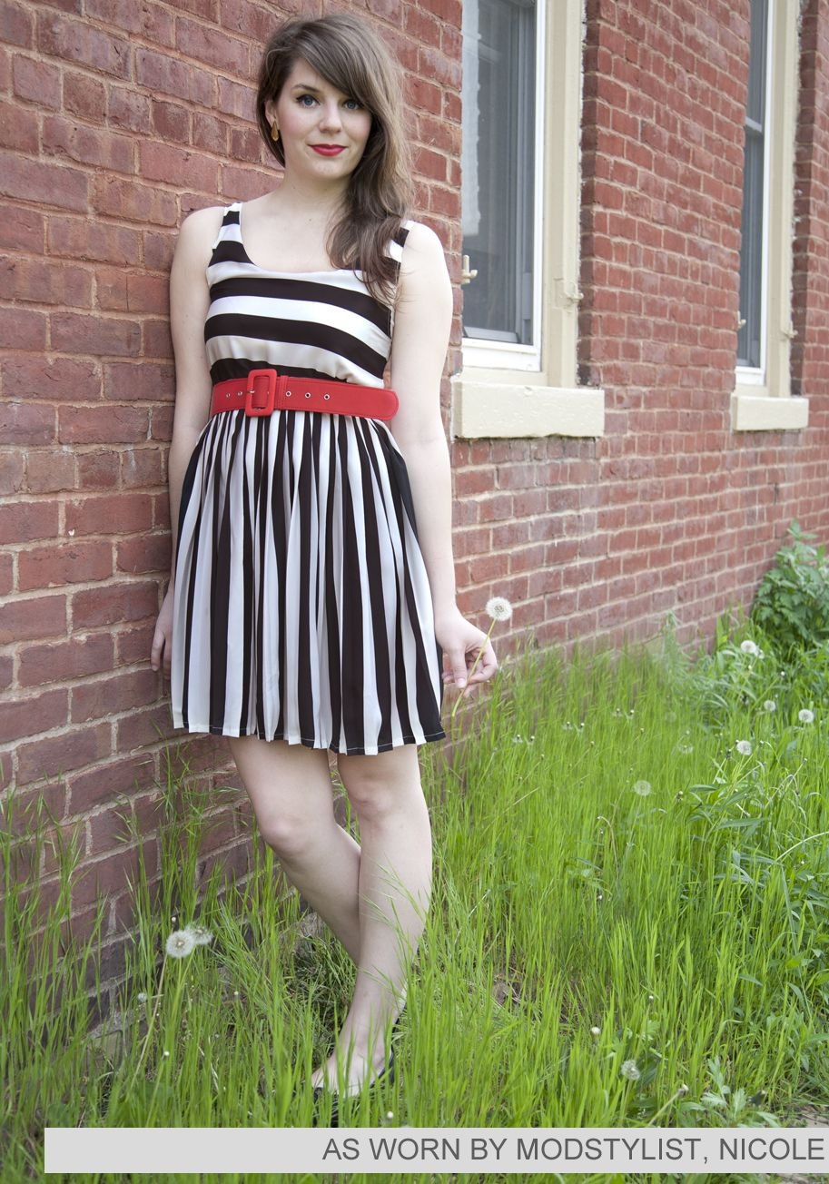 Colorblock aline dress red belt modcloth and white frock
