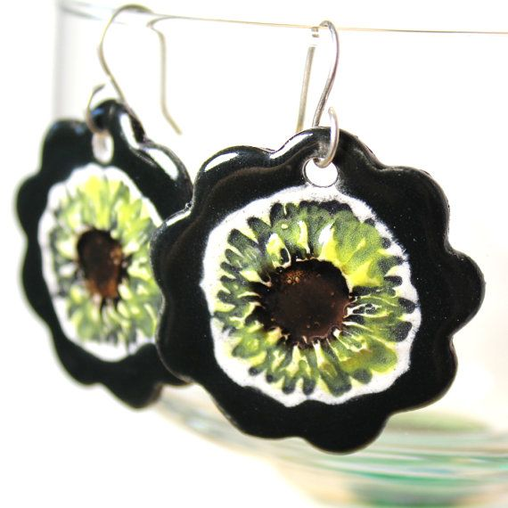 Sunflower Ceramic Earrings in Metallic Black by surly on Etsy, $22.00