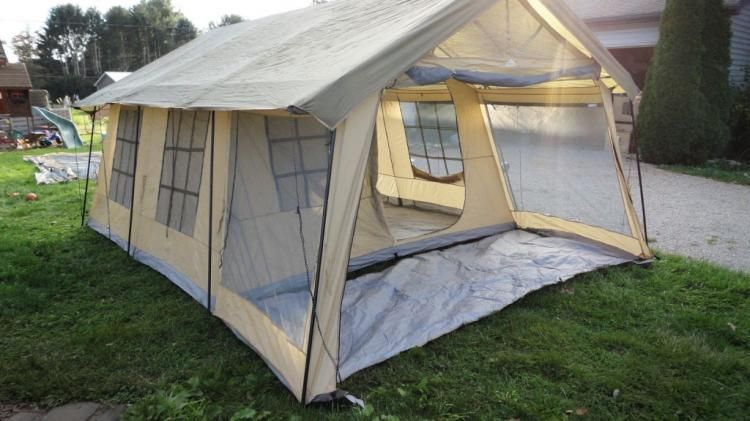 Giant House Shaped Tent With A Front Porch Fits 10 People Porch Tent Cabin Tent Tent