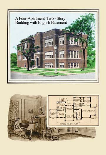A Four Apartment Two Story Building Vintage House Plans
