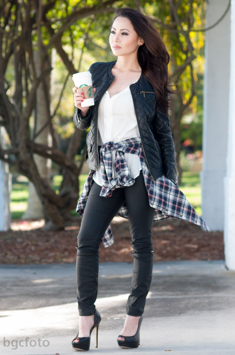 Flannel shirt party  Flannel Shirt and Leather Jacket  Autumn Beauty  Pinterest