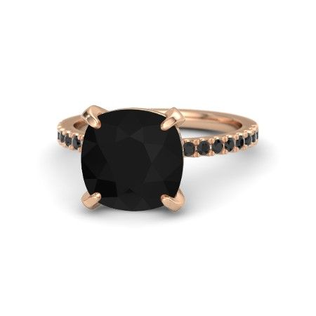 Cushion Black Onyx 14K Rose Gold Ring with Black Diamond | Candace Ring | Gemvara