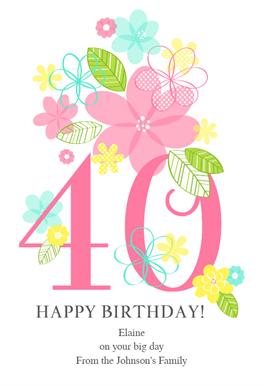 40th Birthday Card Printable - Inspiration Made Simple