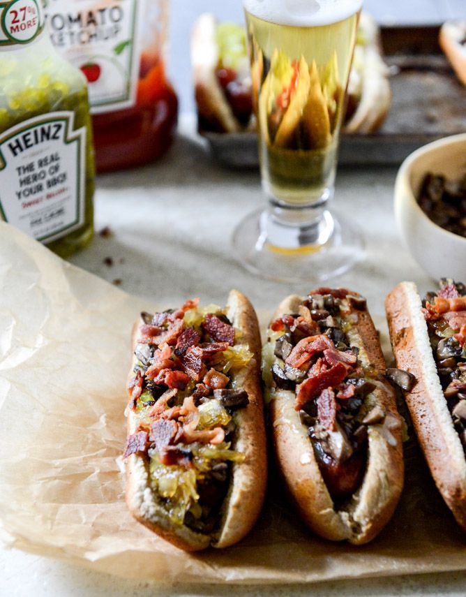 Loaded Cheddar Hot Dogs with Honey Caramelized Onions, Garlic Mushrooms and Bacon | howsweeteats.com