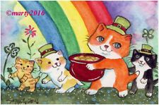 ACEO Original CATs KITTENs  RAINBOW KITTENS LEPRECHAUN  MARTY...