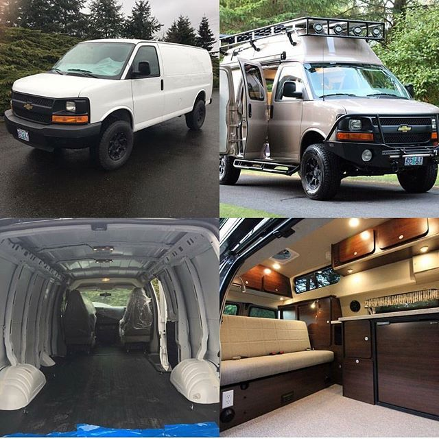 Vanhausvans Before And After Chevy Van Conversion Outfitted With Aluminess Gear Aluminess Roofrack L Chevy Van Diy Van Camper Camper Van Conversion Diy