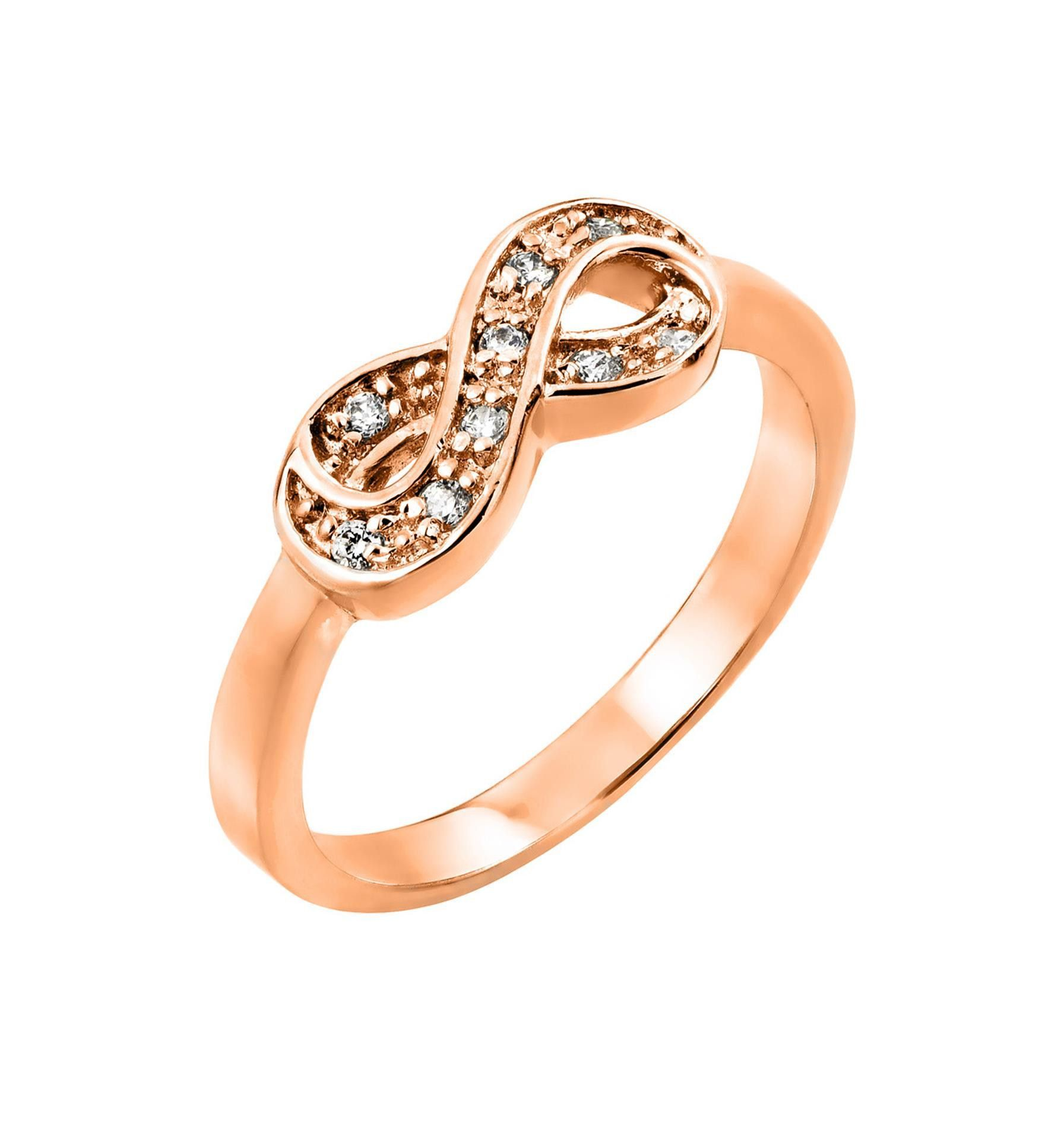 lyst half infinity s de women rose band gold in diamond pink beers jewelry pave