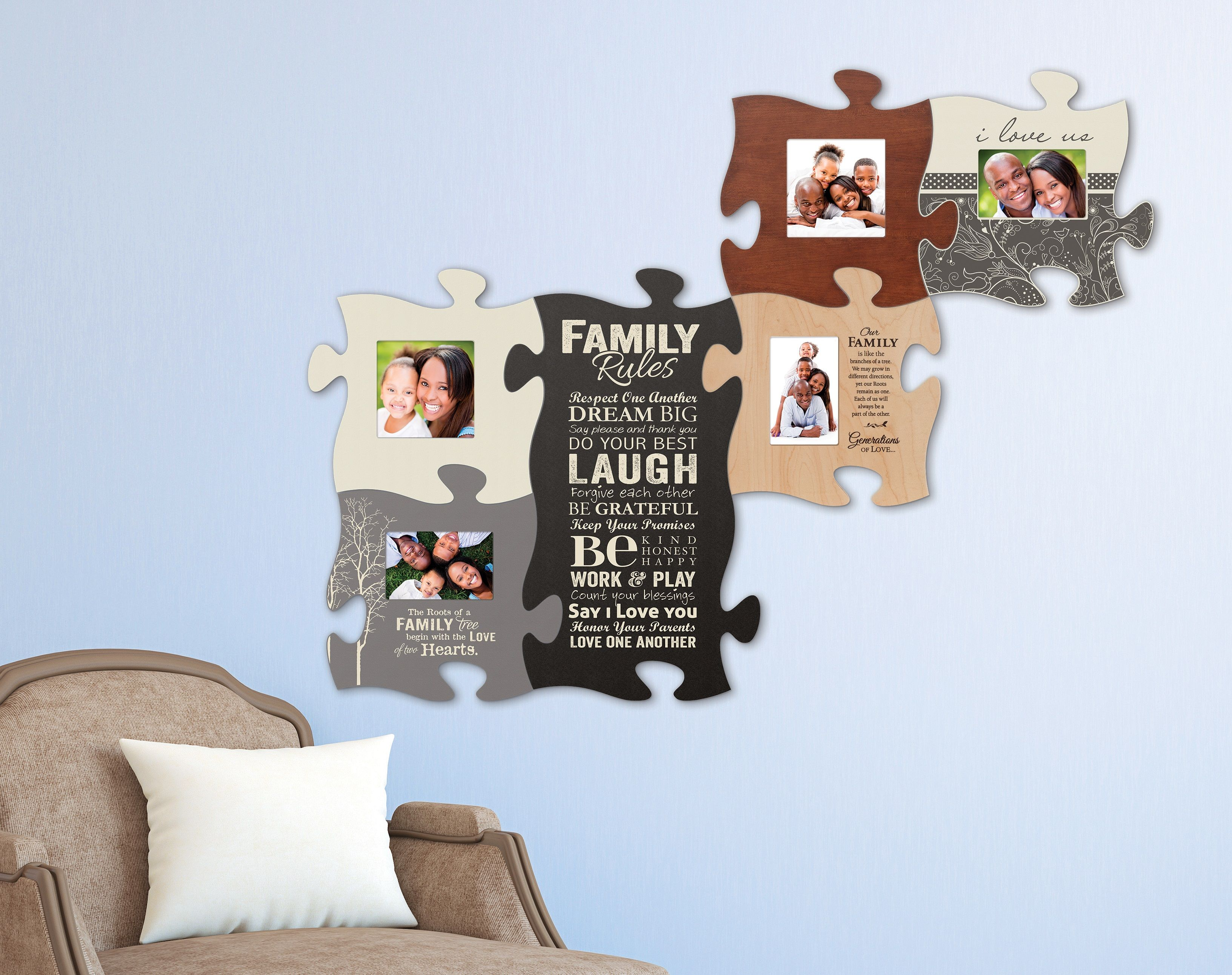 Puzzle Piece Your Family And Friends Together With This Wall Art There S Room For Everyone Plus Integrate Inspi Puzzle Pieces Puzzle Frame Inspiration Wall