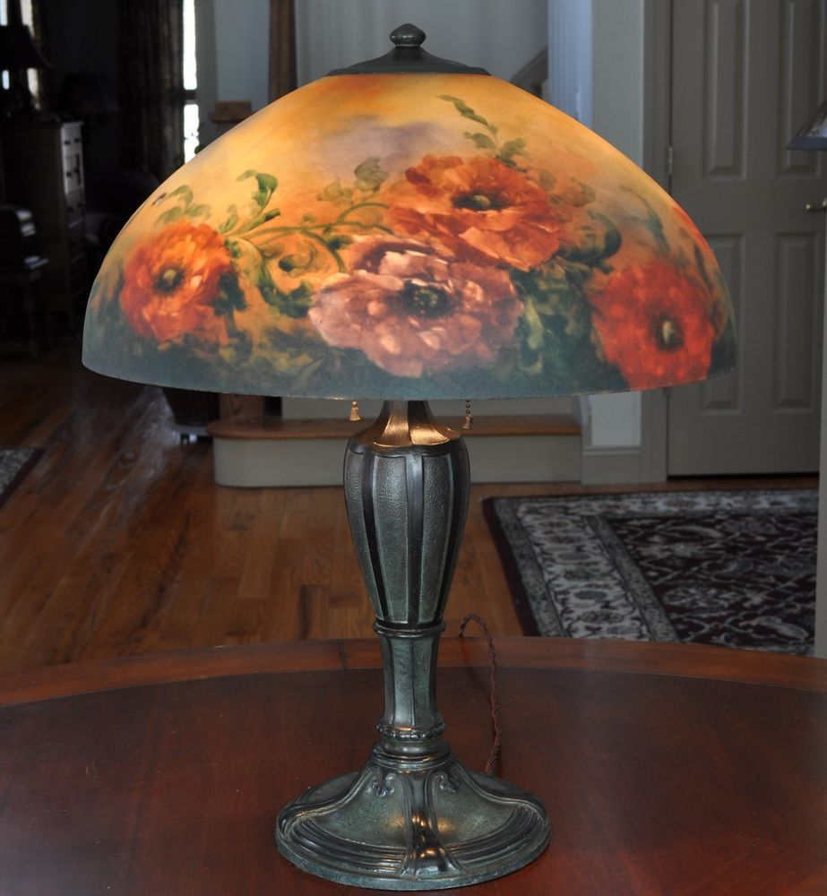 Reverse Painted Poppy Lamp
