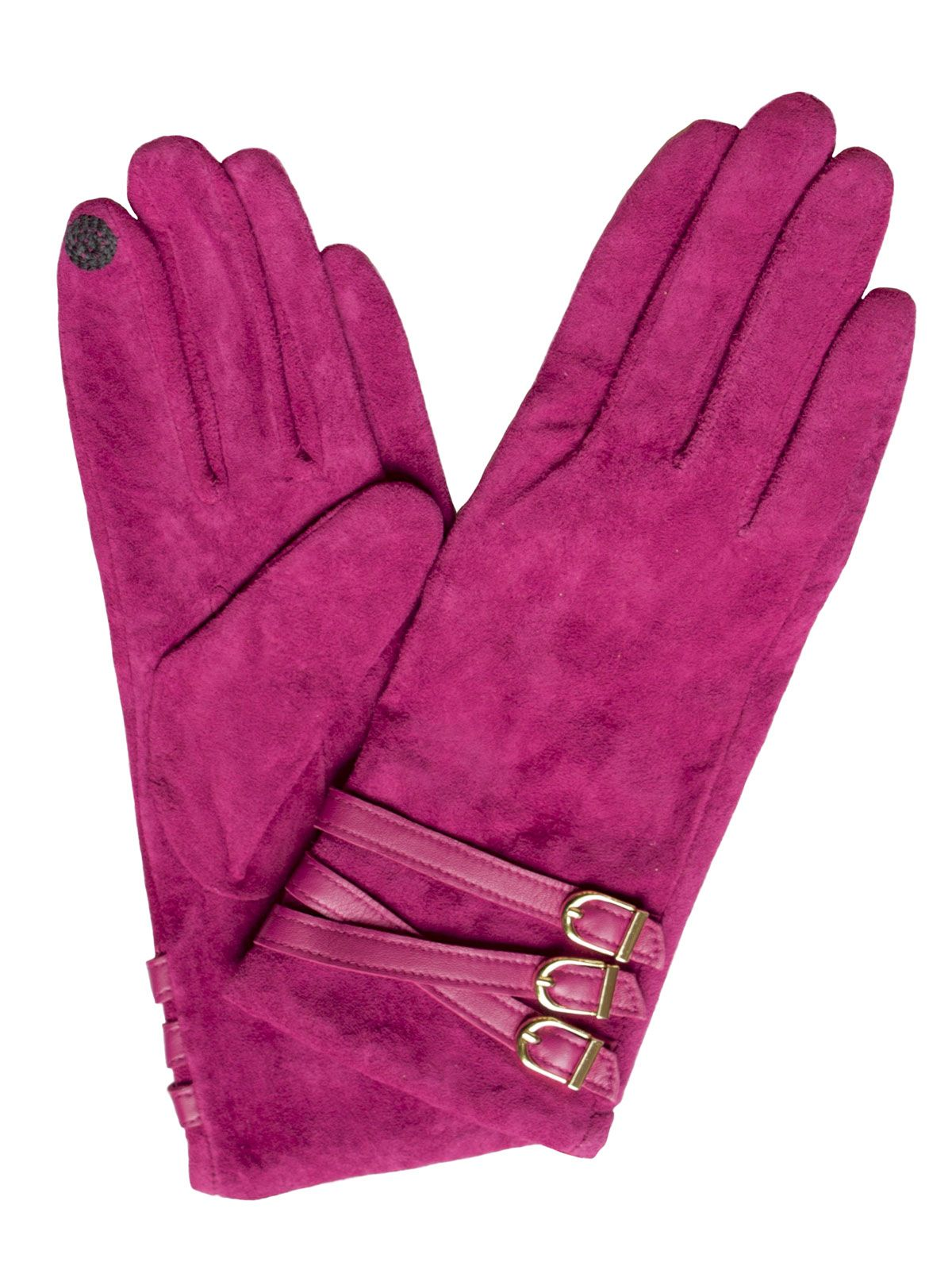 272897a7969 Dents Women's Suede Touchscreen Gloves, 3-buckle strap, Hot Pink. Elegant  and