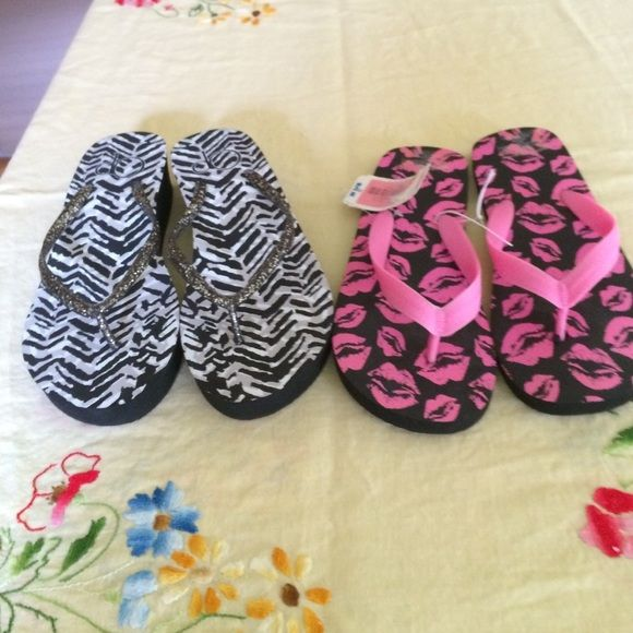 Flip Flops Flat KISS flip flops and striped platform flip flops. Neither pair was worn! Shoes Sandals