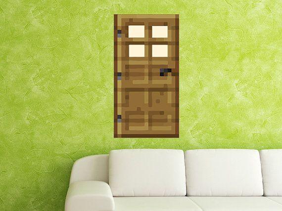HANDMADE Reusable Minecraft DOOR Wall Decal Made by StickyWorld ...