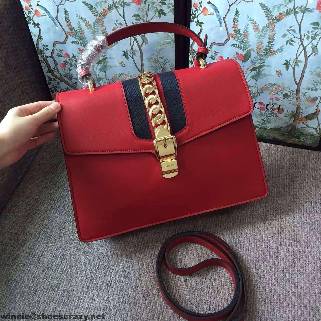 Gucci 431665 Sylvie Leather Top Handle Bag 2016 | Replica handbags ...