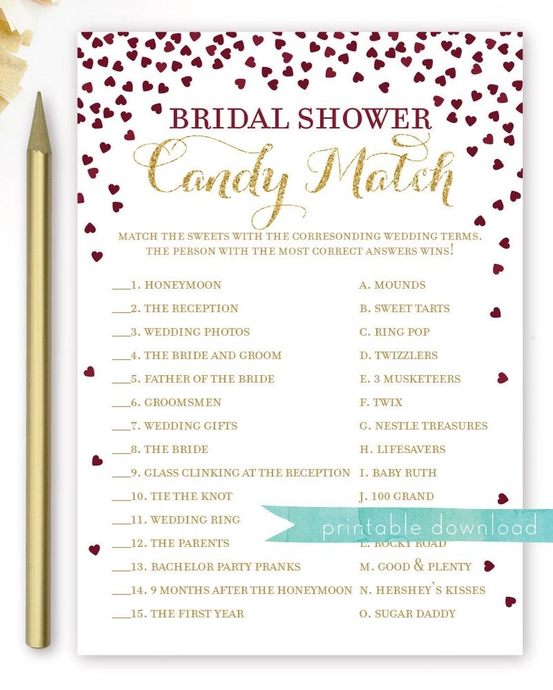Celebrity Wedding Trivia Questions: Candy Match Game Bridal Shower . Printable Instant