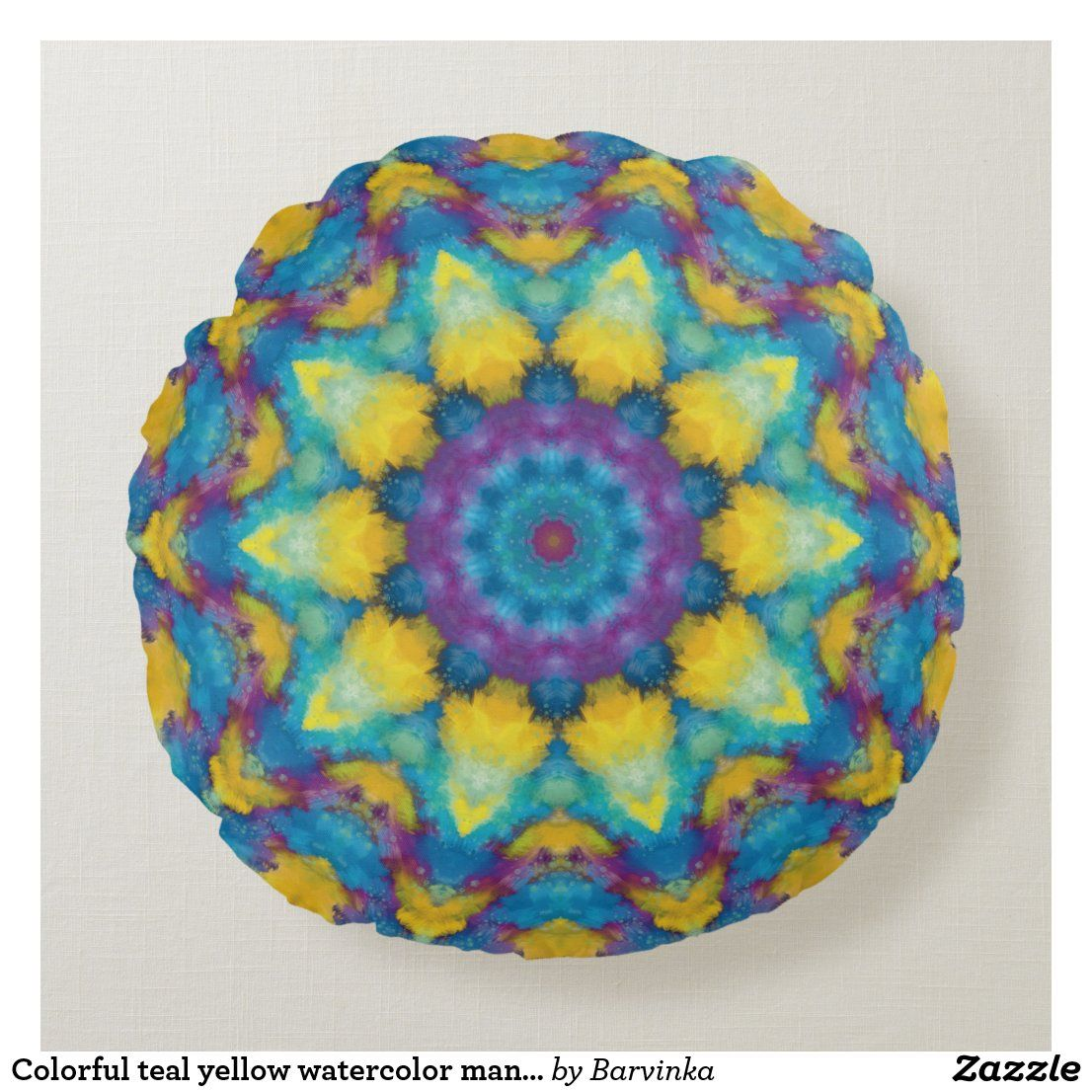 Colorful teal yellow watercolor mandala round pillow