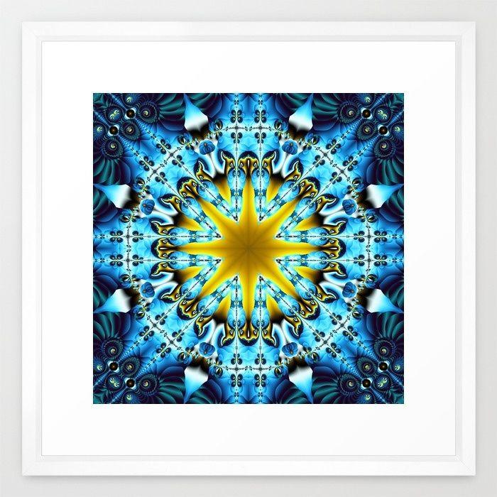 Magical fractal star in gold and blue Framed Art Print
