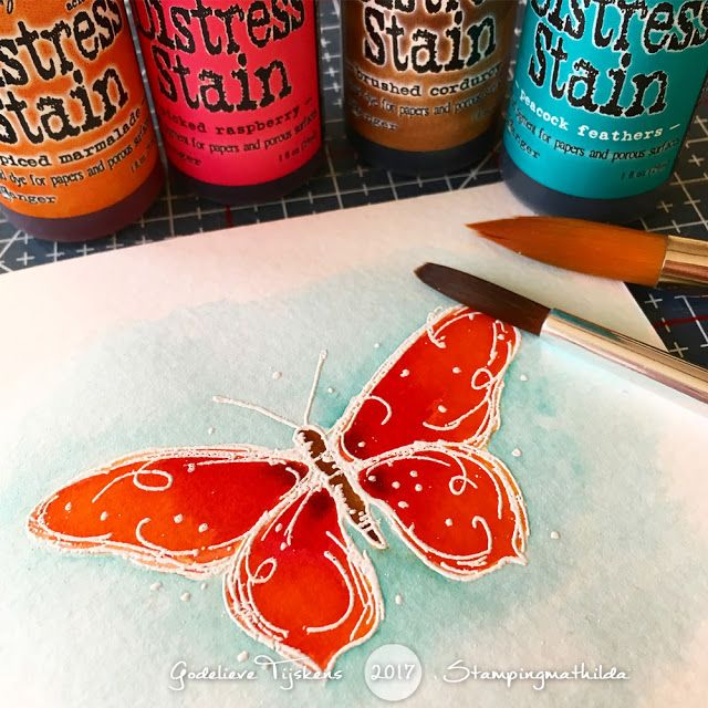 Colouring with Distress Stains by Godelieve Tijskens using Darkroom Door Fine Butterflies Stamp Set