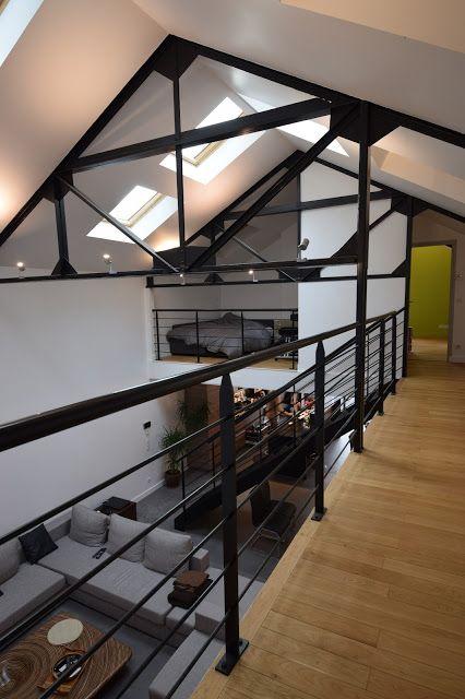 transformation d 39 un garage en loft a la madeleine just interior pinterest loft house and home. Black Bedroom Furniture Sets. Home Design Ideas