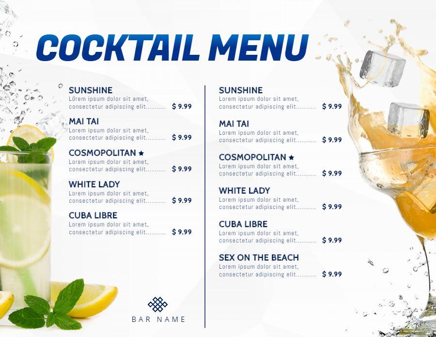 Pin On Cocktail Menu Templates