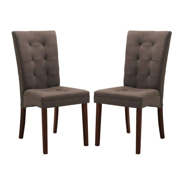 affordable upholstered dining chairs recliner chair covers australia anne brown fabric set of 2 159