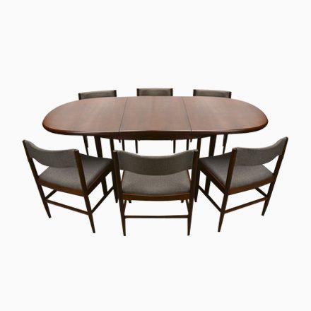 Dänischer Teak Esstisch mit 6 Stühlen, 1960er, 7er Set Jetzt - küchentische und stühle