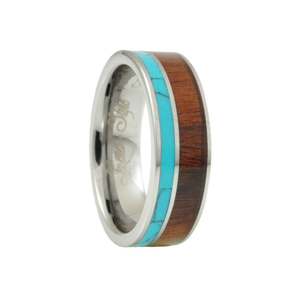 Turquoise hawaii koa inlay tungsten wedding rings for men and women
